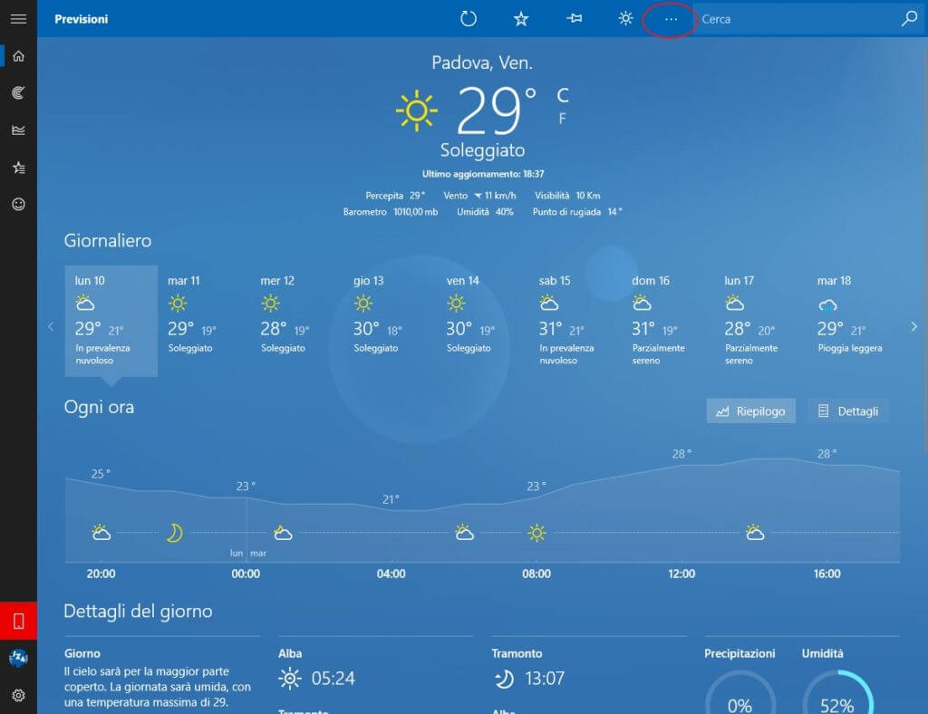 Widget Meteo Windows 10